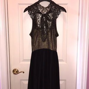 Windsor gold and black high low dress